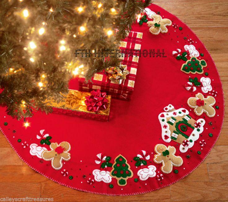 """Bucilla pan de jengibre casa ~ 43 """"Fieltro árbol de Navidad Falda Kit # 85133, Cookies"""