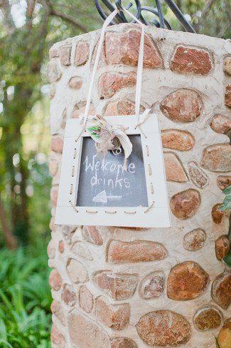 "#Rustic ""Welcome drinks"" blackboard /chalkboard sign from this Rustic Green & Cream Die Akker Wedding Romance #Rustic South African Real Wedding | Confetti Daydreams ♥  ♥  ♥ LIKE US ON FB: www.facebook.com/confettidaydreams  ♥  ♥  ♥ #Wedding #Pretoria #RealBride #RealWedding #RusticWedding"