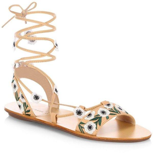 Loeffler Randall Fleura Embroidered Vachetta Leather Ghillie Sandals ($275) ❤ liked on Polyvore featuring shoes, sandals, lace up shoes, floral lace up shoes, flower print shoes, floral sandals and loeffler randall