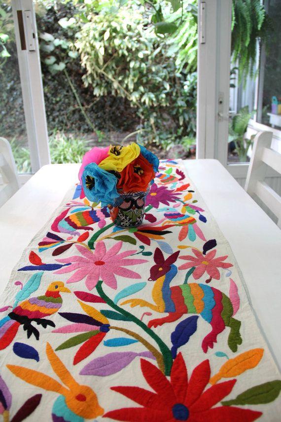 Gorgeous Multi colored Otomi Runner by CasaOtomi on Mexico, Tenango, mexican wedding, textile, mexican suzani, suzani, embroidery, hand embroidered, otomi, www.casaotomi.com, otomi, table runner, fiber art, mexican, handmade, original, authetic, textile , mexico casa, mexican decor, mexican interior, frida, kahlo, mexican folk,  folk art, mexican house, mexican home, puebla collection, las flores, travel tote, boho, tote, handbag, purse, cushion, pillow, gift basket
