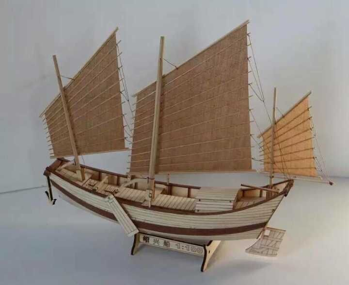 NEW wooden scale ship scale model 1/100 Chinese ancient ship Shaoxing assembly model kits classical wooden sailing ship boat