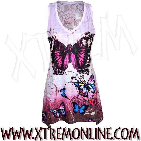 Top de tirantes con blonda por detrás Mariposa Rosa XT3617. Toda la moda gótica y alternativa en nuestra tienda online. Visitanos!
