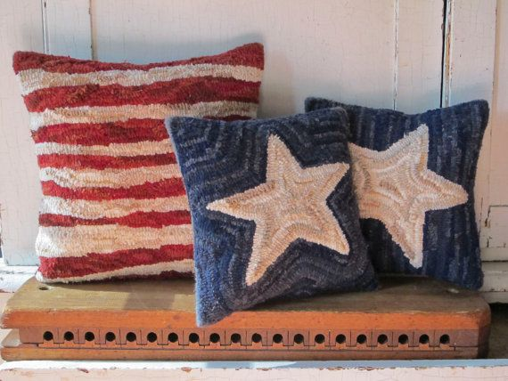Stars and Stripes Hooked Pillow Set by JwrobelStudio on Etsy
