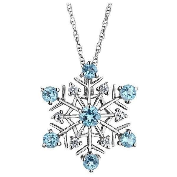 Reeds Sterling Silver Swiss Blue Topaz And White Sapphire Snowflake... (£52) ❤ liked on Polyvore featuring jewelry, necklaces, accessories, christmas, colares, white gold necklace, white jewelry, snowflake necklace, sterling silver pendant necklace y sterling silver necklaces