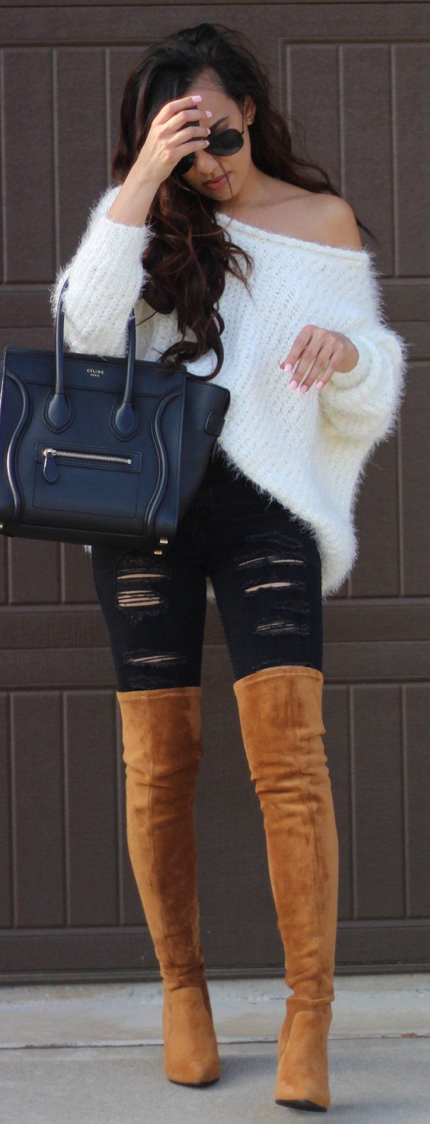 White Off Shoulder Knit / Black Leather Tote Bag / Black Ripped Skinny Jeans / Camel Velvet OTK Boots