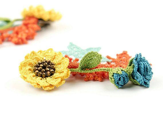 Earrings-Bohemian Crochet Crystal Beaded Yellow Sunflower