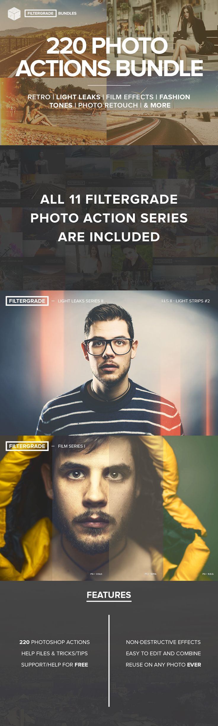 Save hours of your time by using some of the most advanced Photoshop actions on the web to edit, adjust, and enhance your photos.