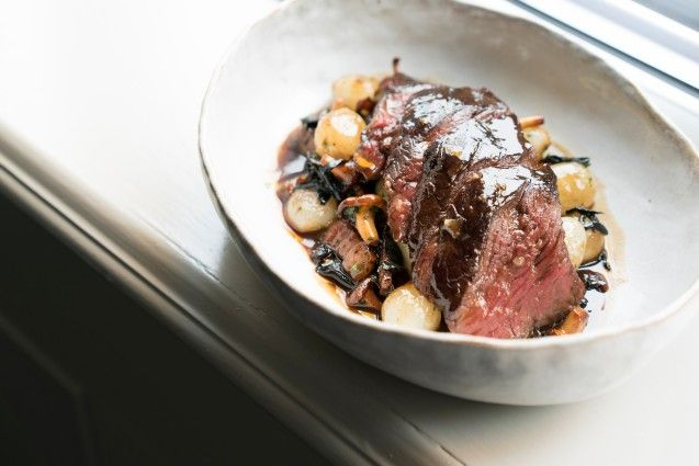 Grilled Onglet of Irish Beef Sauteed Wild Mushroom, Pancetta, Potato Puree and Red Wine Sauce by chef Andy McLeish