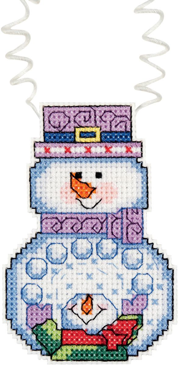 """Holiday Wizzers Snowman With Snowballs Counted Cross Stitch -3""""""""X2.25"""""""" 14 Count"""