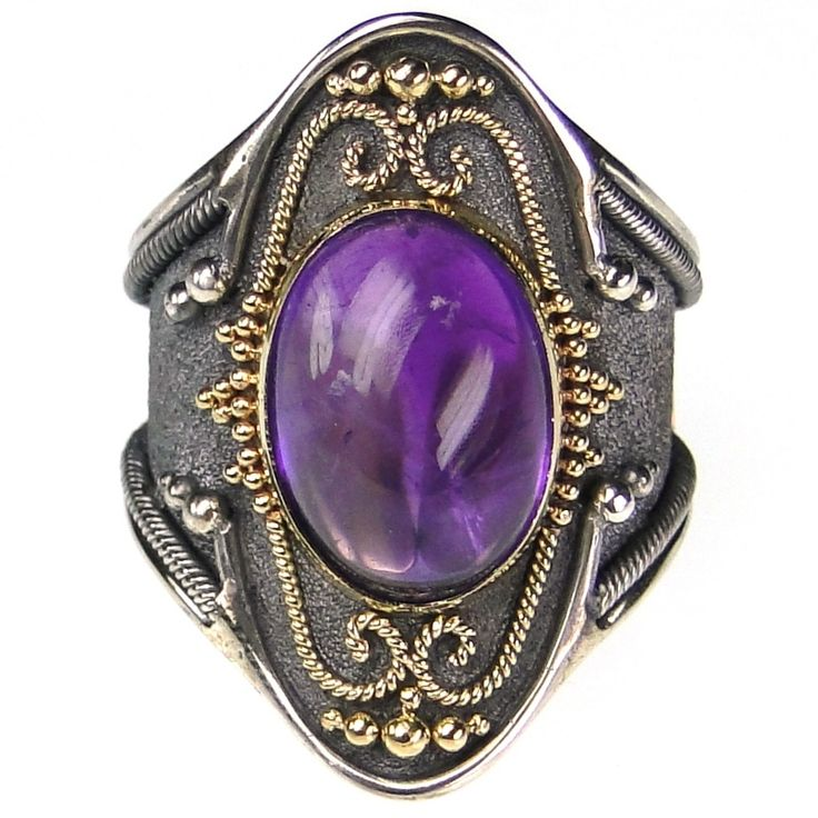 Damaskos Amethyst Black Silver Long Ring, 18k Gold, Sterling Silver and an Amethyst. This and more handmade Greek jewelry at Athena's Treasures: www.athenas-treasures.com