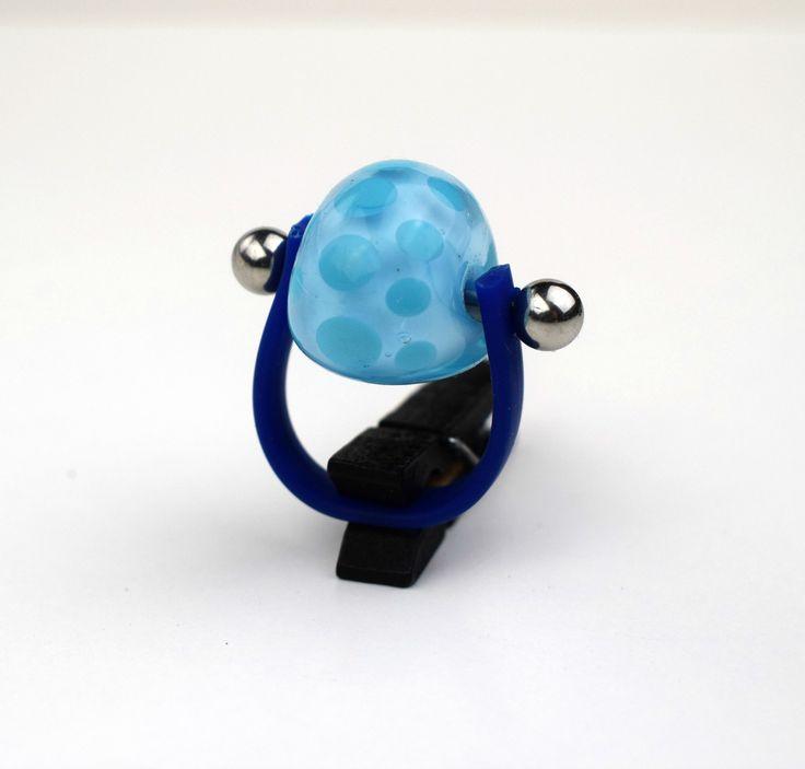 Vidrio azul. Anillo cristal. Joyería Personalizada. Anillos llamativos. Anillo para mujer. Anillo hecho a mano. Anillo inusual. Anillo azul. de XanaLuStudio en Etsy