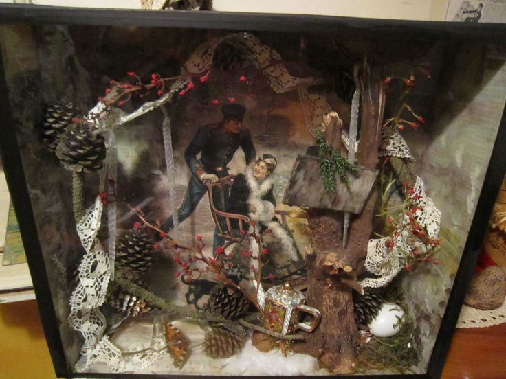 Shadowbox OOAK - Winterjoy Mixed media