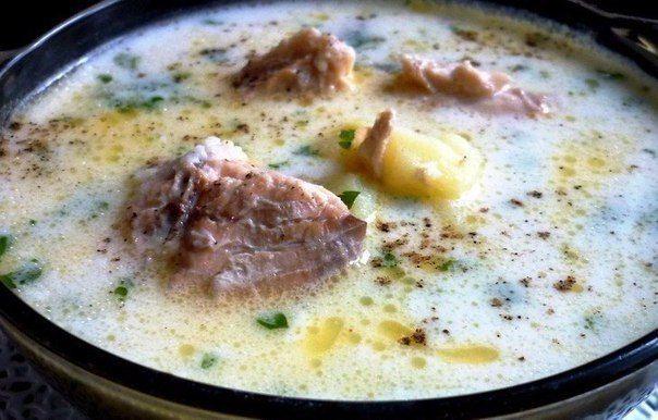 Сырный суп с горбушей и пшеном