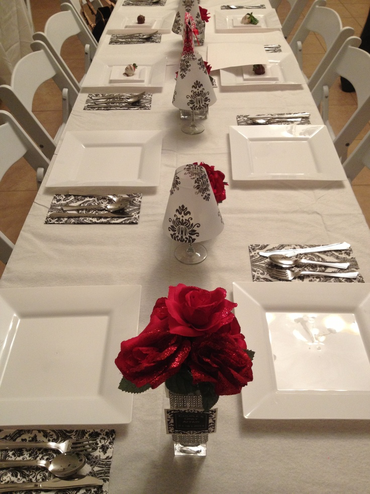 Prom Dinner Party Ideas Part - 45: Table Decoration Decorating For Dinner For Couples Valentine White Red  Black Yummy. Prom IdeasTable DecorationsRed BlackDinnerParty ...