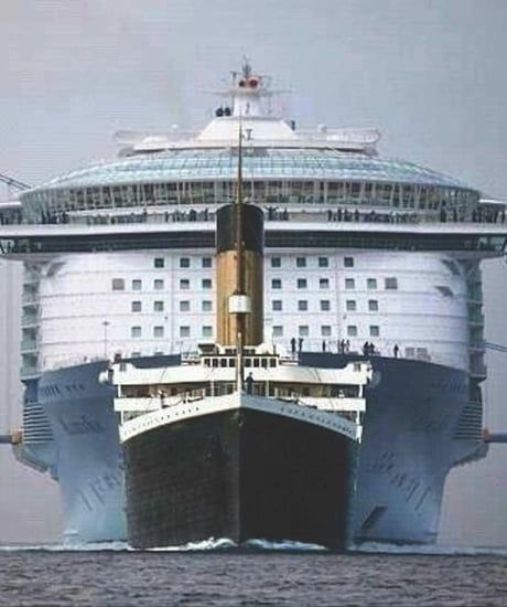 A Size Comparison Between The Titanic And A Modern Cruise Ship In