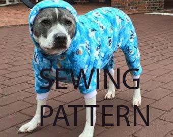 My own design for a pattern for Doggie pajamas in a digital printable format. Perfect for larger dogs, pitbulls and dogs with a chest measurement of 28-34 inches. length is adjustable using this pattern. (see below for info) Hard to find size in pre made goods, so why not sew your own. see details below  simple sewing skills required. Can be made in fleece or knits with a good stretch.  Ive made these for hundreds of dogs, but am no longer selling the finished product. Great for rescues and…