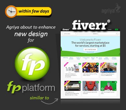 Agriya shortly going to release an Exclusive new Stylish and Sleek design for our micro jobs marketplace script - FPPlatform with close to the Current Fiverr website.Get ready to experience the enriched look and feel of our Fiverr clone   http://www.agriya.com/products/fiverr-clone?utm_source=agriya&utm_medium=pinterest&utm_campaign=07.01.2014