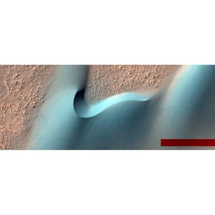 Last year NASA released over 2,500 new images of Mars. This one of dunes in a crater is one of my favourites (the red bar is left over from image processing).