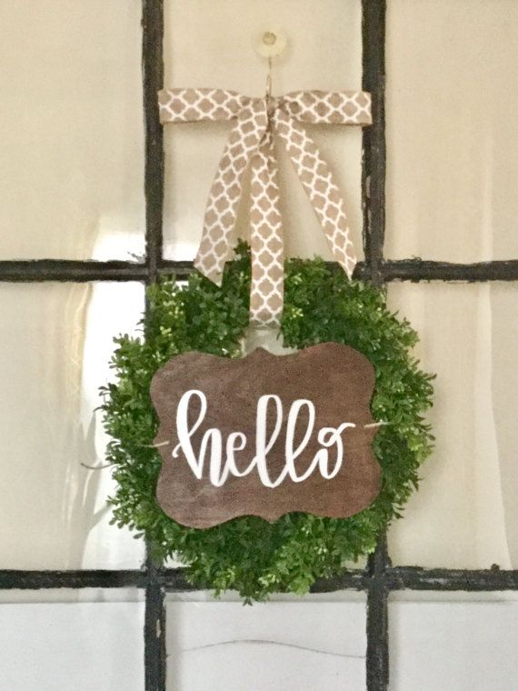 Handlettered Hello Wreath