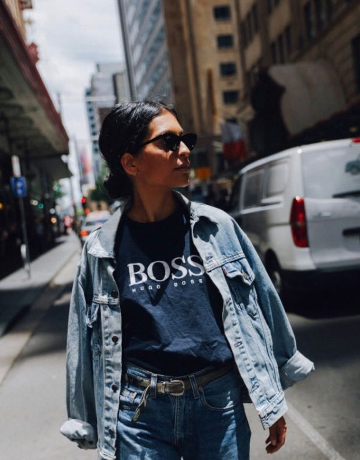 Casual outfit inspiration   denim jacket   street style   laid back outfit   women's fashion