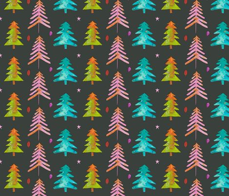 Watercolor Christmas Trees 2016 fabric by mariden on Spoonflower - custom fabric