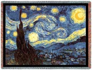 Starry Night Throw Blanket. 100% Cotton Throw Blankets - Famous Artists. Oh so very popular is Van Gogh's The Starry Night Throw Blanket. It seems that just about anything by Van Gogh turns to gold and this is no exception. It's one of the top selling throws from the Famous Artists Collection.