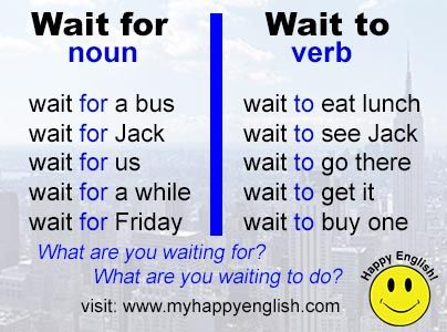 English grammar and vocabulary - Wait to Vs. Wait for