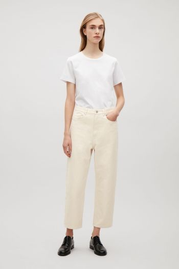 COS image 1 of Relaxed straight-fit jeans in Vanilla