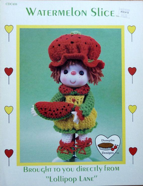 Vintage Dumplin Designs Crochet Pattern - WATERMELON SLICE - from Lollipop Lane (1980s)