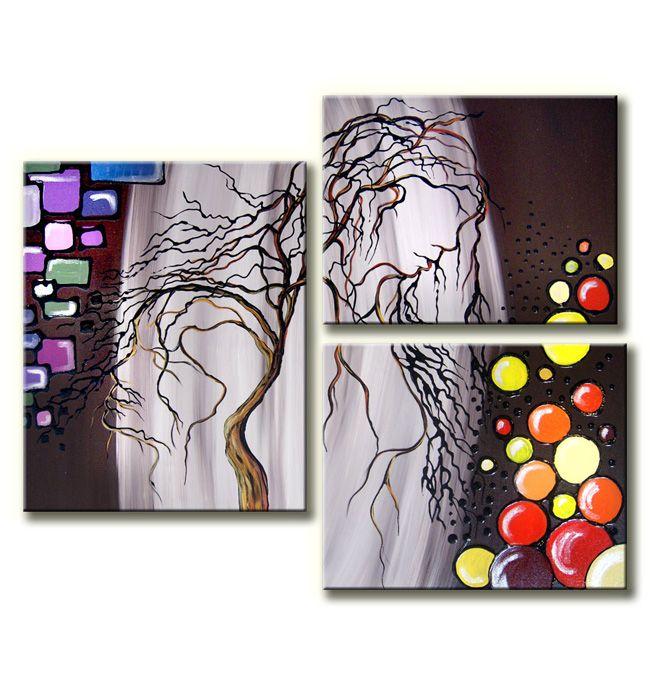 Prachtige muurdecoratie in drie delen.De canvasdelen hangen asymetrisch naast elkaar. Het 3 luik schilderij is gemaakt met acrylverf.