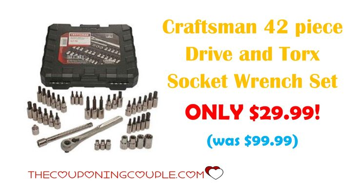 HOT BUY! You can get the Craftsman 42 piece Drive and Torx Socket Wrench Set for ONLY $29.99 (was $99.99)!   Click the link below to get all of the details ► http://www.thecouponingcouple.com/craftsman-42-piece-drive-and-torx-socket-wrench-set/ #Coupons #Couponing #CouponCommunity  Visit us at http://www.thecouponingcouple.com for more great posts!