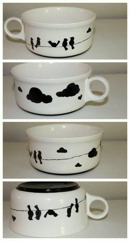 49 Dresses: Birds on a Wire - diy paint'birds on a wire' on a white ceramic mug