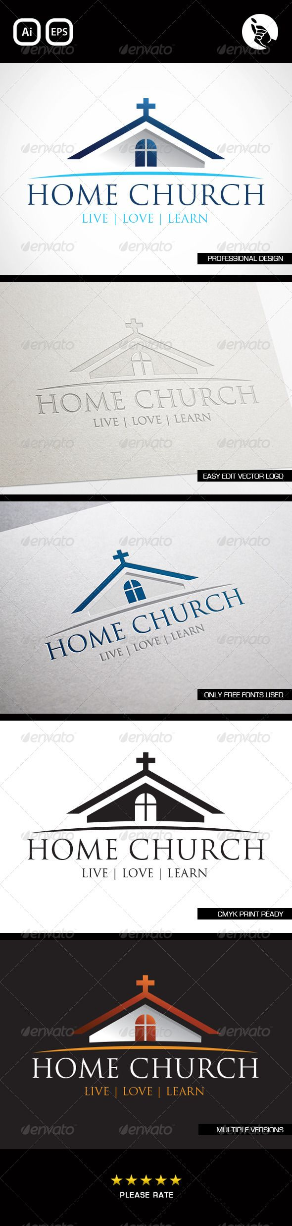 Home Church Logo Design Template Vector #logotype Download it here:  http://graphicriver.net/item/home-church-logo/4543341?s_rank=43?ref=nexion