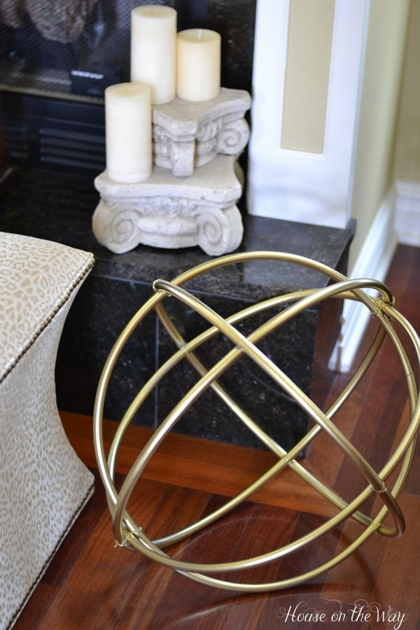 DIY Gold Decorative Sphere Made From Hula Hoops....Yard Sculptures