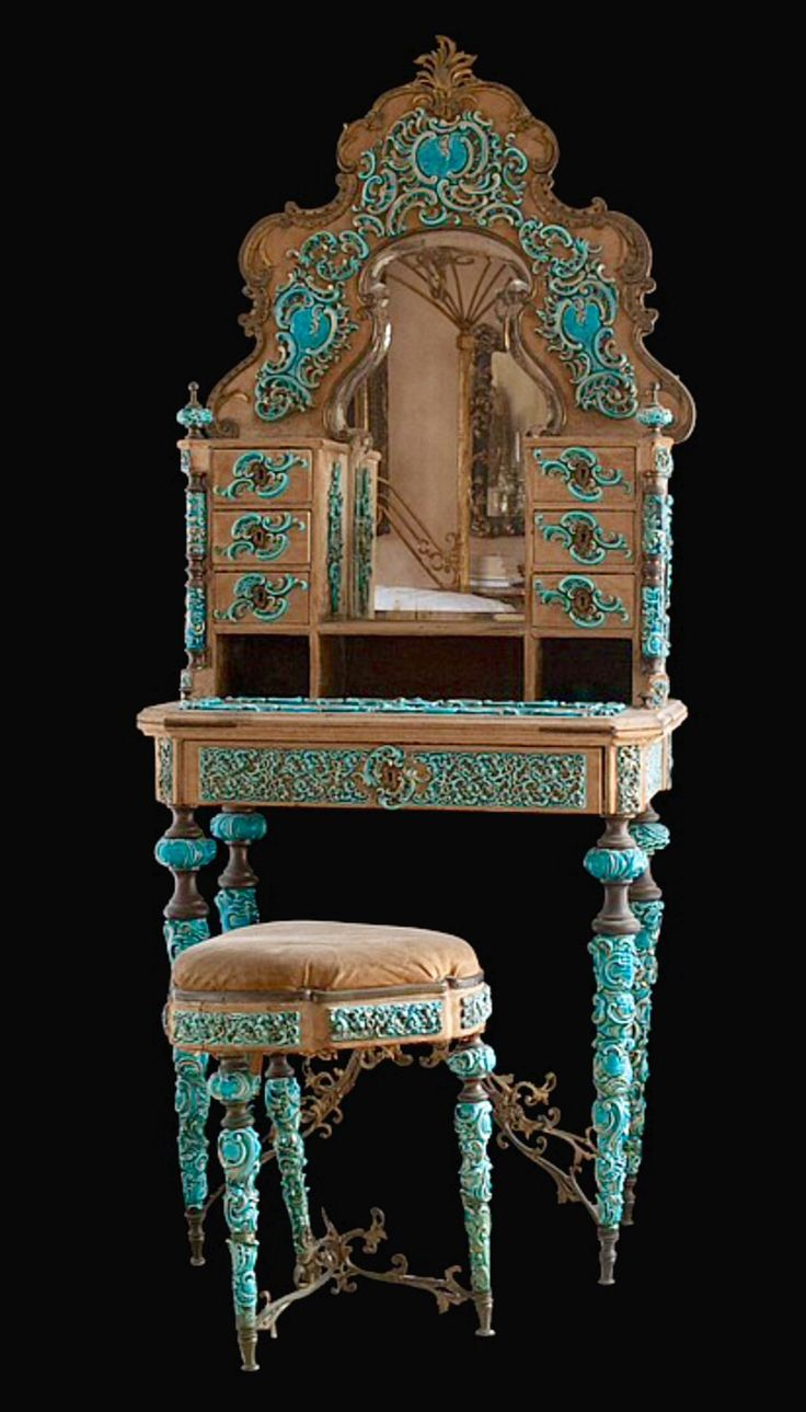 Art Nouveau Vanity Set. I know you like deco...but I thought this was gorgeous & it has your turquoise.