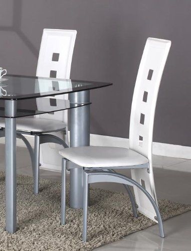 Roundhill Furniture Cinda Metal Contemporary Dining Room Chairs, White, Set of 2
