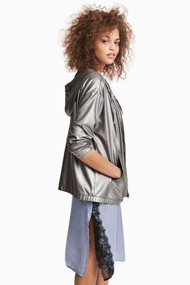 Błyszcząca bluza z kapturem - Ciemnoszary/Metalik - ONA   H&M PL
