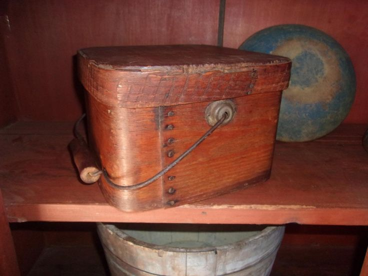 RARE SQUARE! 19thc Antique Primitive Bail Handle Pantry Box. I have never seen a square one like this. Great patina you only get from age. Good solid sturdy box. Bottom is nice and tight and so is the lid. Sold  Ebay   240.00