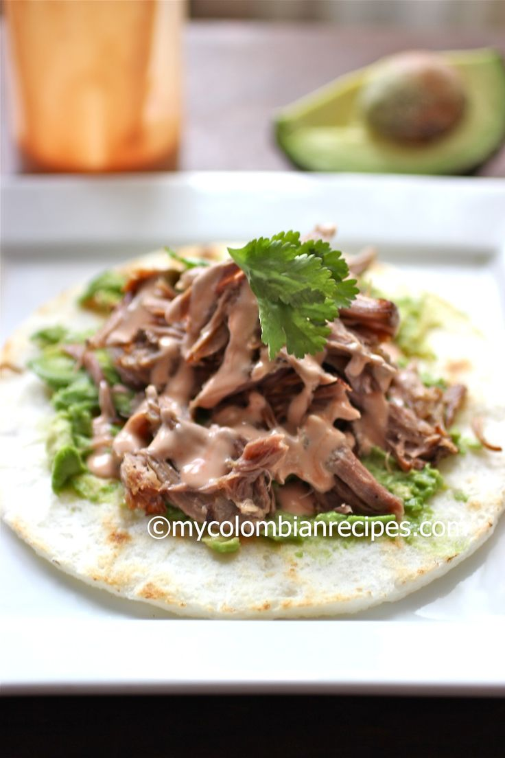 Arepa with Pulled Pork, Avocado and Pink Sauce