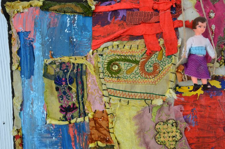Playground (detail) oil&textile and ready made 2016 Annukka Mikkola