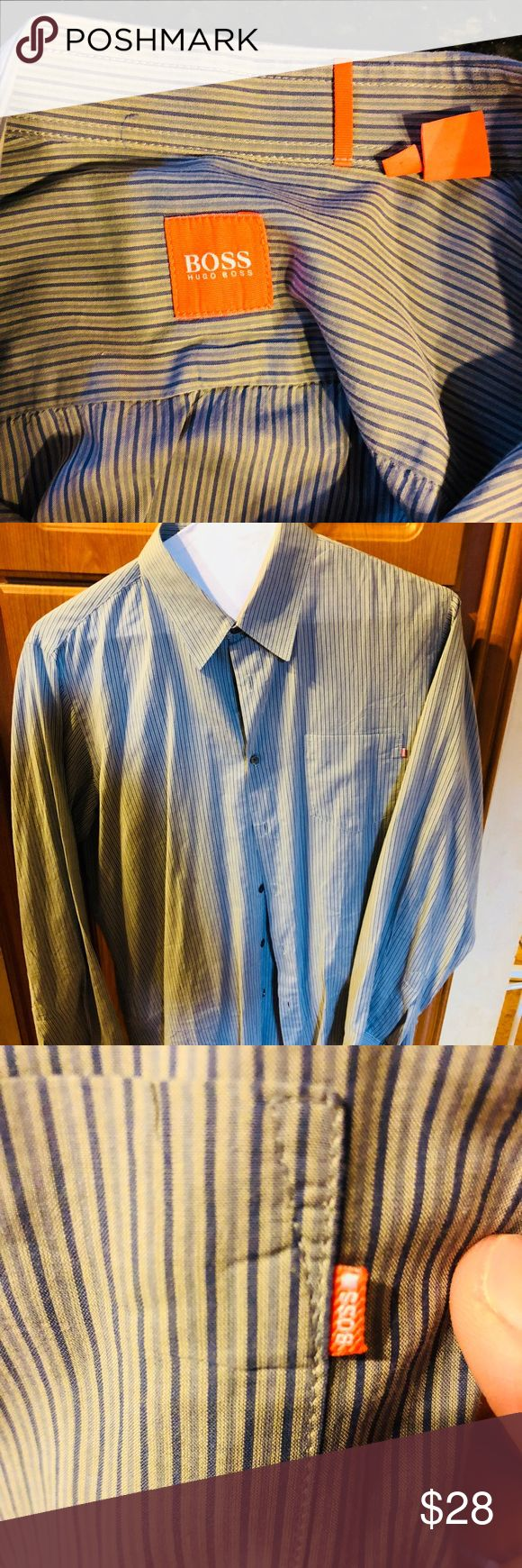 Men's Boss Orange striped button shirt blue Blue and gray striped button down shirt by BOSS orange. Unique as expected.m from Hugo boss . BOSS ORANGE Shirts Casual Button Down Shirts