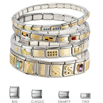 This modular idea is based on the more traditional customisation of a charm bracelet. Nomination is a composable bracelet comprised of a series of links connected by a spring loaded mechanism. Each segment can be filled and replaced one by one, with a decorative design.