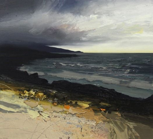 "Summer Storm, Carista, oil on board, 22"" x 20"" by Chris Bushe, Scottish Islands"