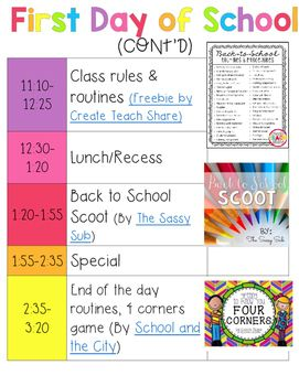 First Day of School Plans: 2nd grade. Download the plans to click on each resource--FREEBIES included!