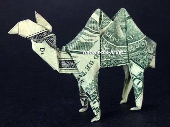 Dollar Bill Origami CAMEL - Made with a $1 bill. Designed by John Montroll