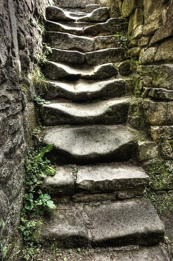 well-worn stone steps