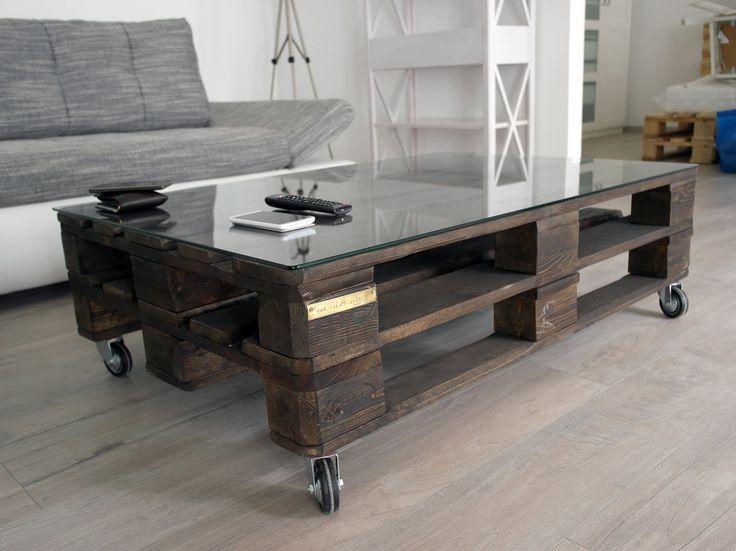 raklap asztal nem raklapból, üvegezve / pallet coffee table