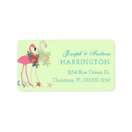 Key Lime Flamingos Christmas Address Labels - Xmascards ChristmasEve Christmas Eve Christmas merry xmas family holy kids gifts holidays Santa cards