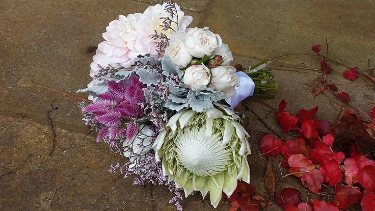 wedding bride bouquet - feathers, white king protea, david austin roses, dusty miller www.amityblooms.com