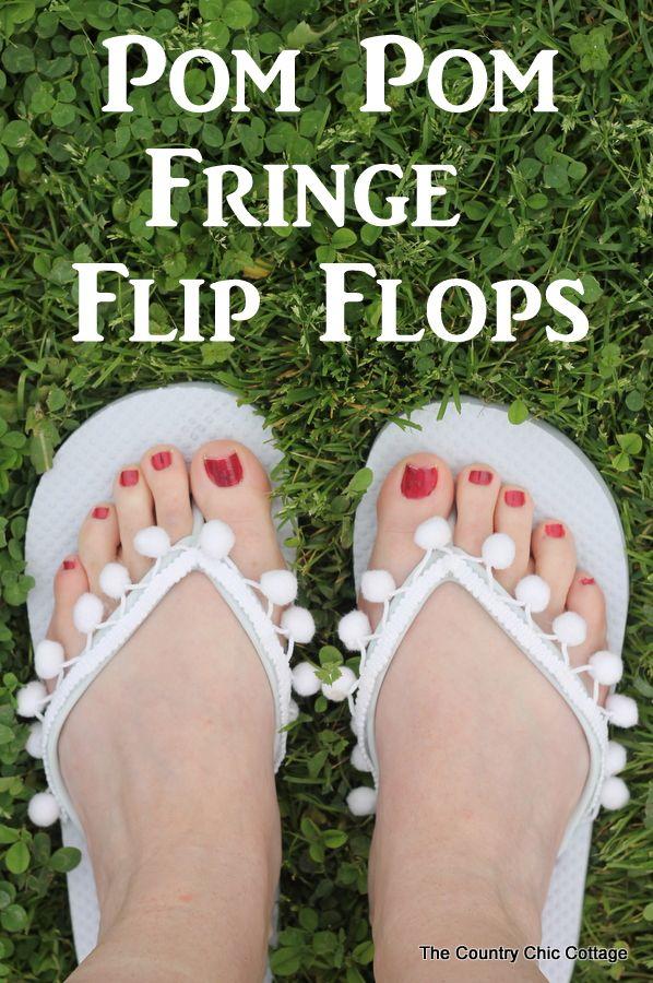 Pom Pom Fringe Flip Flops